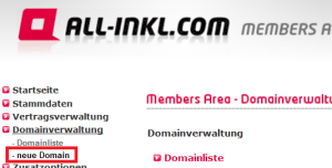 Neue Domain auswählen