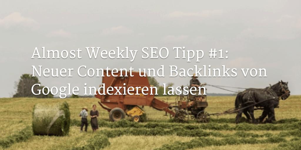 Almost Weekly SEO Tipp #1: Neuer Content und Backlinks von Google indexieren lassen