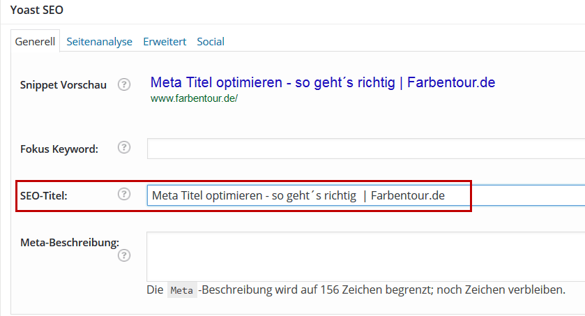 """Mittels dem SEO by Yoast Plugin lässt sich der """"SEO Title"""" schnell und einfach ändern"""