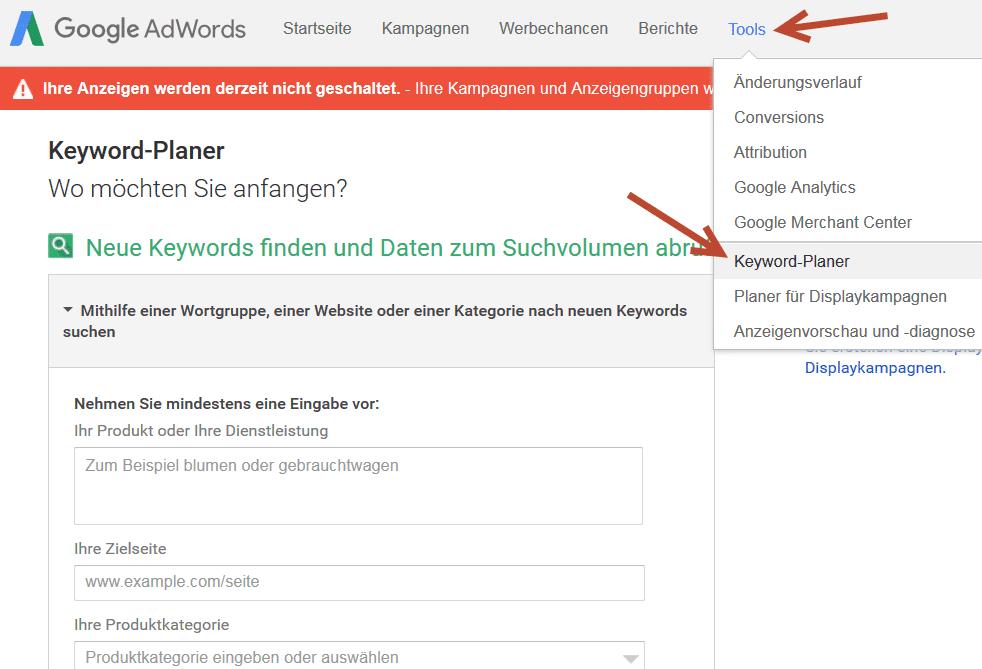 Google Keywordplaner - Wie du eine detaillierte Keyword Recherche kostenlos betreibst