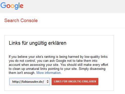 Google Disavow Tool Start
