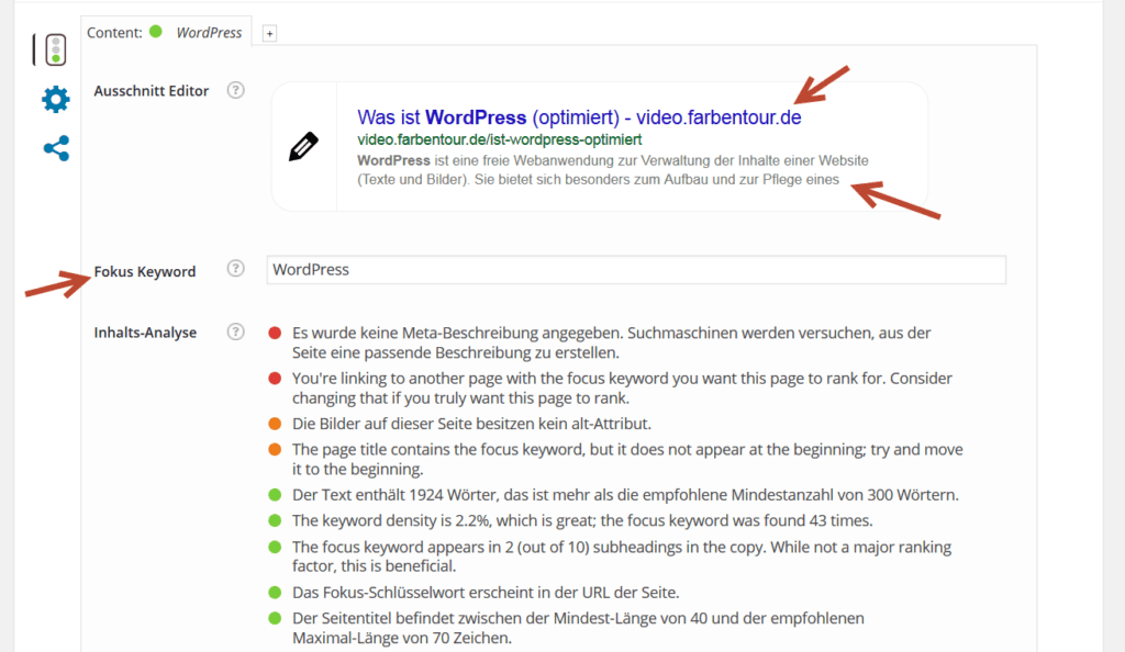 SEO by Yoast Hilfe Content Optimierung
