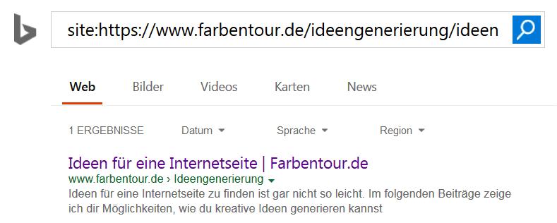 bing abfrage mit site - Eine Homepage bei Suchmaschinen eintragen