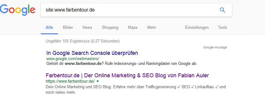 google abfrage mit site - Eine Homepage bei Suchmaschinen eintragen