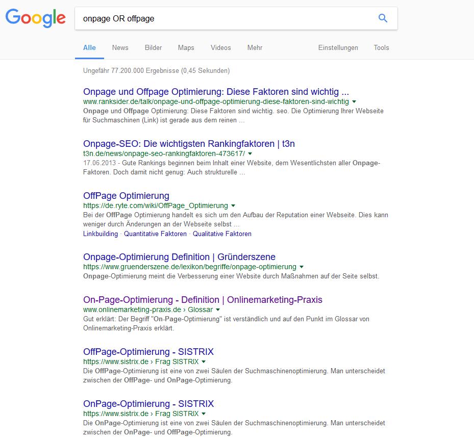 2 OR - 19 hilfreiche Google Suchoperatoren für bessere Suchergebnisse