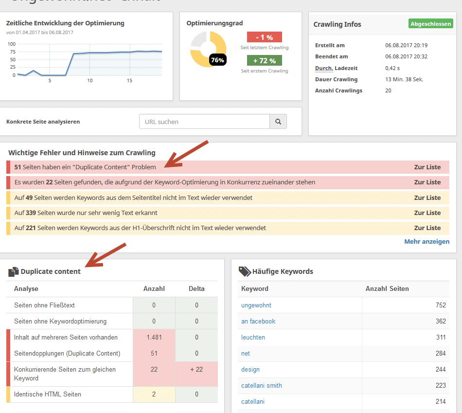 Doppelte Inhalte analysieren