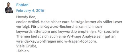 Beispiel guter Blogkommentar auf einem Blog 2 - Sind Blogkommentare zum Linkaufbau heutzutage noch sinnvoll?