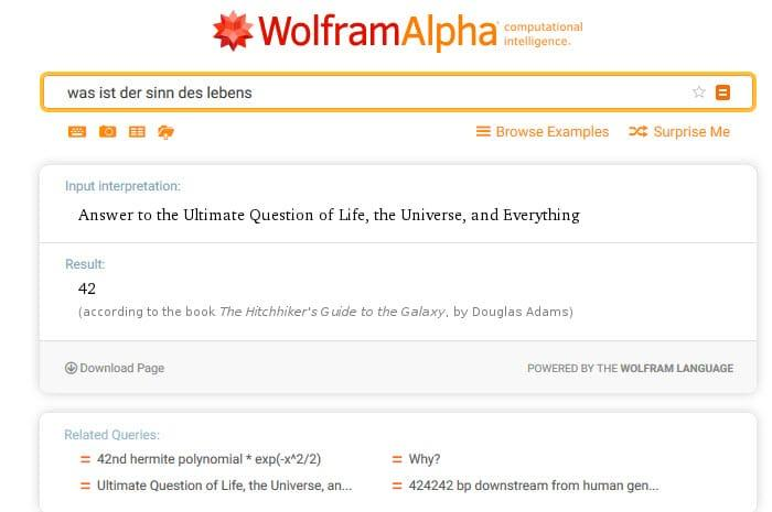 Wolframalpha Beispiel-Suche