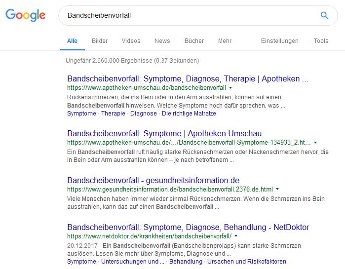 keyword recherche bandscheibe