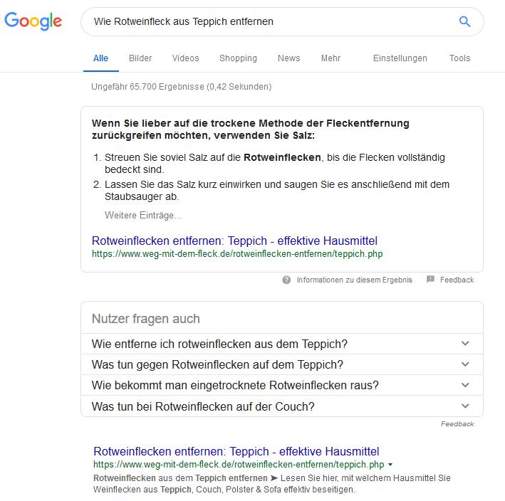 """Suchanfrage zu """"Wie Rotweinfleck aus Teppich entfernen"""""""