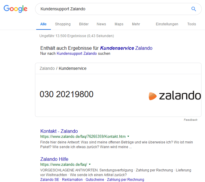 Kundensupport Zalando