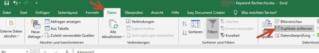 Duplikate entfernen Excel