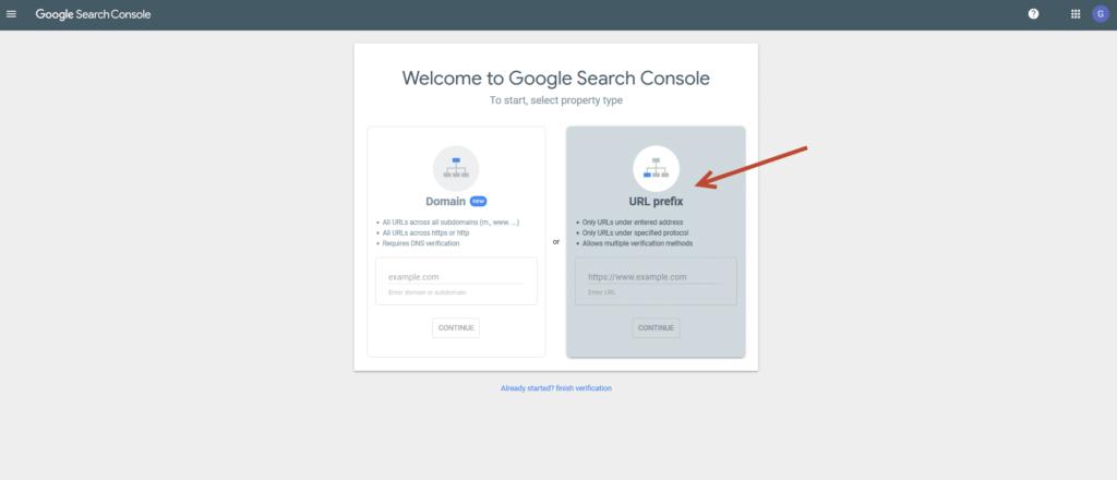 Anmeldung einer URL in der Google Search Console