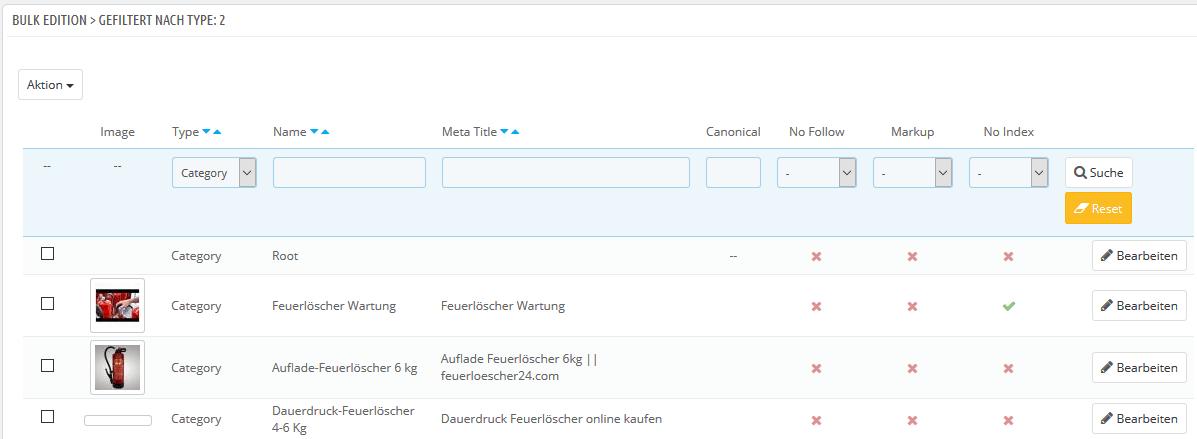 Modul SEO Center Bulk Edition können Title Tag und mehr angepasst werden