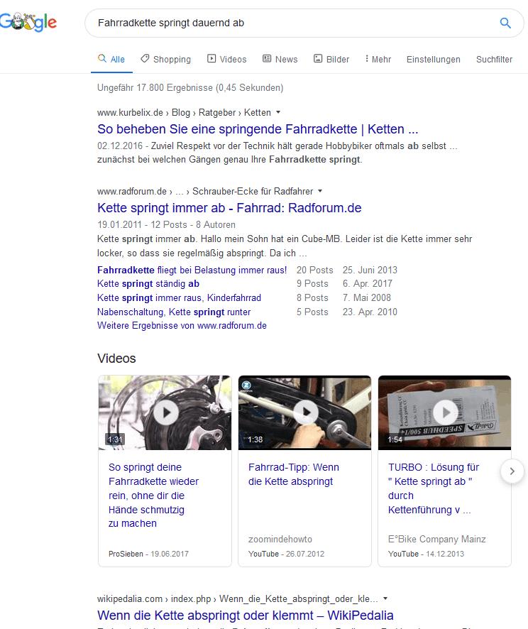Keyword Analyse Fahrradkette