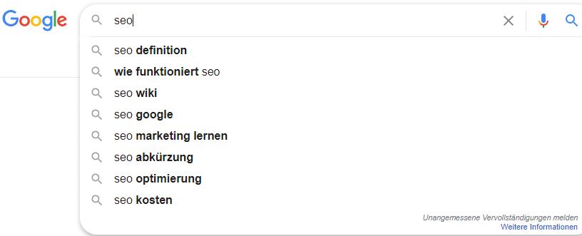 Google Vorschläge Keyword-Recherche