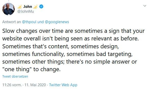 John Müller Aussage bei Google