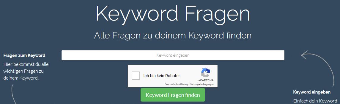 Keyword Fragen suchen auf wrel.de