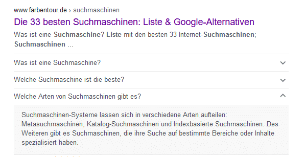 Beispiel FAQ Box in den SERPS