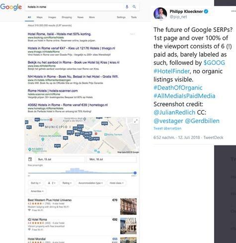 Beispiel SERPS bei Google nur mit Anzeigen