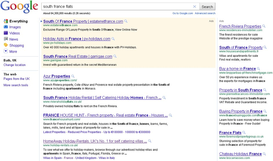 Google SERPS damals