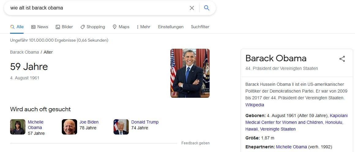 Beispiel bei Google Wie alt ist Barack Obama