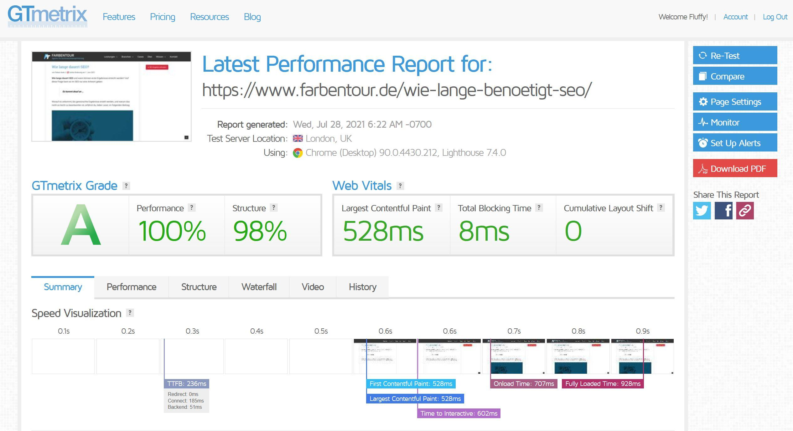 gtmetrix mit core web vitals analyse